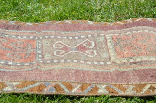 "Unique Turkish Vintage Small Area Rug Doormat For Home Decor 2'10,6"" X 1'7,7"""