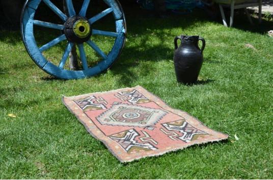 "Turkish  Handmade Vintage Small Area Rug Doormat For Home Decor 3'0,2"" X 1'9,3"""