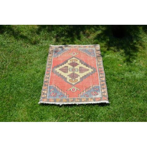 "Turkish Handmade Vintage Small Area Rug Doormat For Home Decor 3'2,2"" X 1'9,7"""