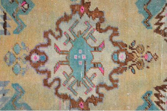 "Turkish Handmade Vintage Small Area Rug Doormat For Home Decor 3'6,1"" X 1'6,9"""