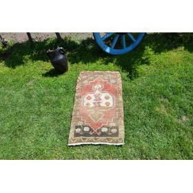 "Unique Turkish Vintage Small Area Rug Doormat For Home Decor 2'11,8"" X 1'7,3"""