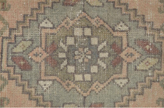 "Vintage Handmade Turkish Small Area Rug Doormat For Home Decor 3'1,4"" X 1'7,3"""