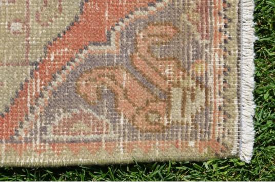 "Vintage Handmade Turkish Small Area Rug Doormat For Home Decor 2'10,3"" X 1'6,1"""