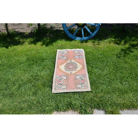 """Natural Turkish Vintage Small Area Rug Doormat For Home Decor 2'11,4"""" X 1'5,7"""""""