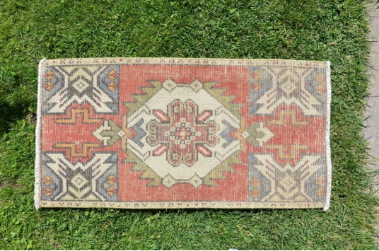"""Natural Turkish Vintage Small Area Rug Doormat For Home Decor 2'10,6"""" X 1'5,7"""""""