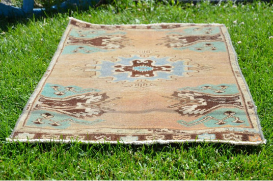 """Natural Turkish Vintage Small Area Rug Doormat For Home Decor 2'10,3"""" X 1'5,7"""""""