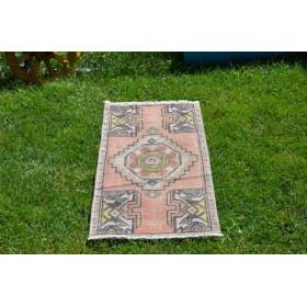 "Turkish Handmade Vintage Small Area Rug Doormat For Home Decor 3'1,8"" X 1'6,5"""