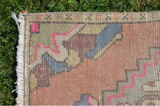 "Vintage Handmade Turkish Small Area Rug Doormat For Home Decor 2'11,4"" X 1'8,1"""