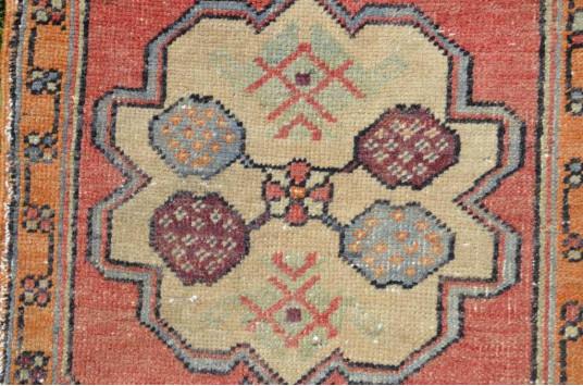 "Vintage Handmade Turkish Small Area Rug Doormat For Home Decor 2'9,9"" X 1'7,3"""