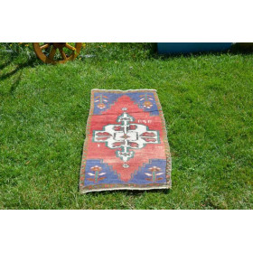 """Natural Turkish Vintage Small Area Rug Doormat For Home Decor 2'11,8"""" X 1'5,7"""""""