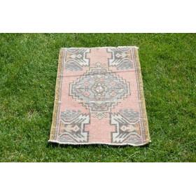 "Handmade Turkish Vintage Small Area Rug Doormat For Home Decor 2'9,1"" X 1'6,9"""