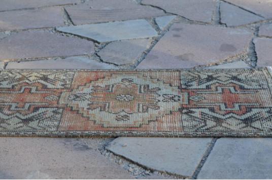 "Vintage Handmade Turkish Small Area Rug Doormat For Home Decor 2'9,5"" X 1'5,3"""