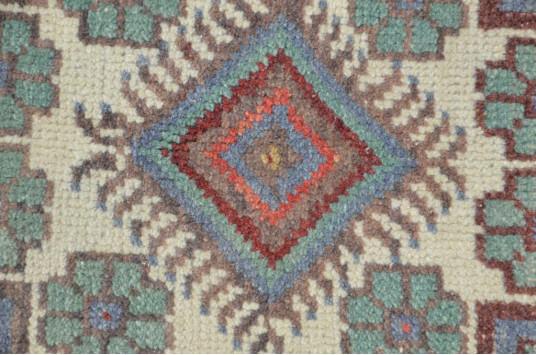 "Vintage Handmade Turkish Small Area Rug Doormat For Home Decor 3'4,9"" X 1'7,7"""