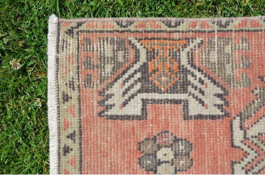 "Vintage Handmade Turkish Small Area Rug Doormat For Home Decor 2'11,4"" X 1'6,1"""