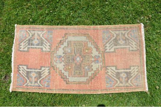 "Vintage Handmade Turkish Small Area Rug Doormat For Home Decor 2'11,8"" X 1'6,5"""