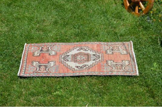 "Turkish Handmade Vintage Small Area Rug Doormat For Home Decor 2'10,6"" X 1'7,3"""