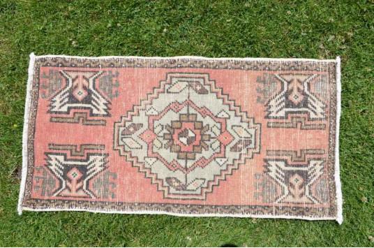 "Vintage Handmade Turkish Small Area Rug Doormat For Home Decor 3'1"" X 1'6,9"""