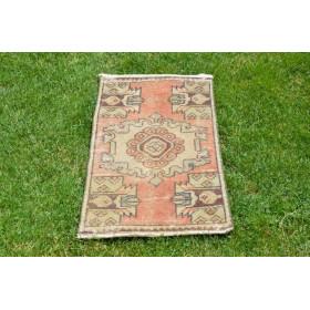 "Handmade Turkish Vintage Small Area Rug Doormat For Home Decor 2'11,4"" X 1'6,9"""
