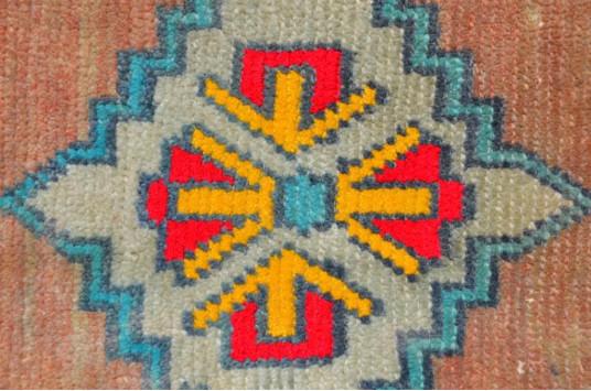 "Unique Turkish Vintage Small Area Rug Doormat For Home Decor 2'8,3"" X 1'3,4"""