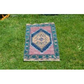 "Unique Turkish Vintage Small Area Rug Doormat For Home Decor 2'7,5"" X 1'6,5"""
