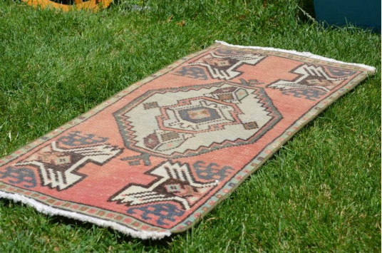 """Natural Turkish Vintage Small Area Rug Doormat For Home Decor 2'11,8"""" X 1'5,3"""""""