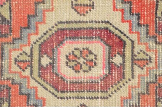 "Turkish Handmade Vintage Small Area Rug Doormat For Home Decor 2'6,7"" X 1'3"""