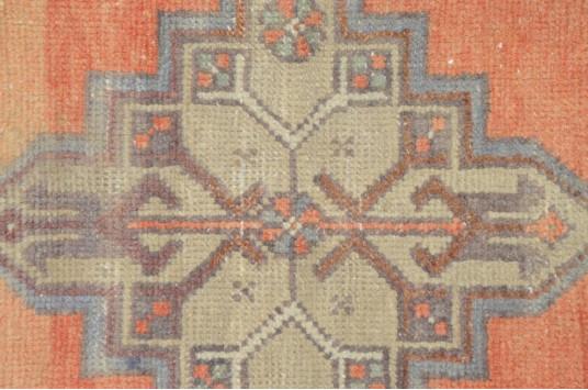 "Unique Turkish Vintage Small Area Rug Doormat For Home Decor 3'1,4"" X 1'4,1"""