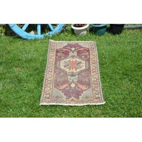 "Unique Turkish Vintage Small Area Rug Doormat For Home Decor 3'3,8"" X 1'6,1"""