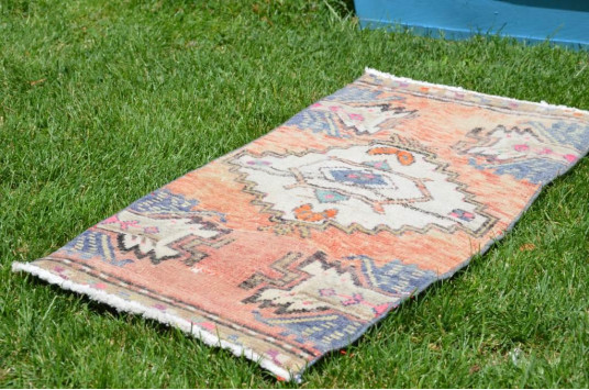 """Natural Turkish Vintage Small Area Rug Doormat For Home Decor 2'7,9"""" X 1'4,9"""""""
