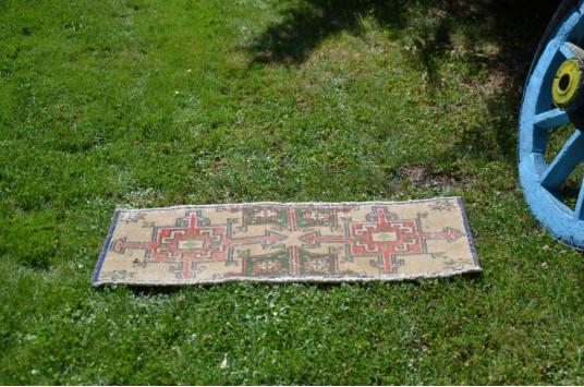 "Turkish Handmade Vintage Small Area Rug Doormat For Home Decor 2'11"" X 1'3"""