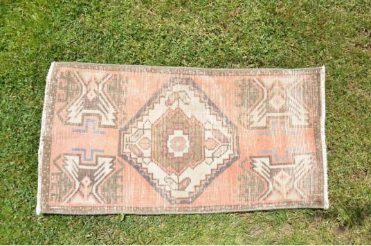 "Vintage Handmade Turkish Small Area Rug Doormat For Home Decor 2'11"" X 1'6,1"""
