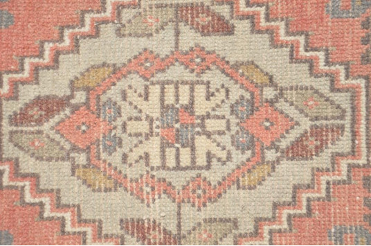 "Handmade Turkish Vintage Small Area Rug Doormat For Home Decor 3'3,8"" X 1'5,3"""