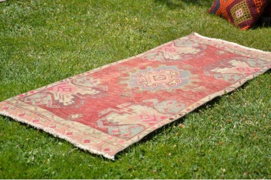 "Unique Turkish Vintage Small Area Rug Doormat For Home Decor 3'7,3"" X 1'8,5"""