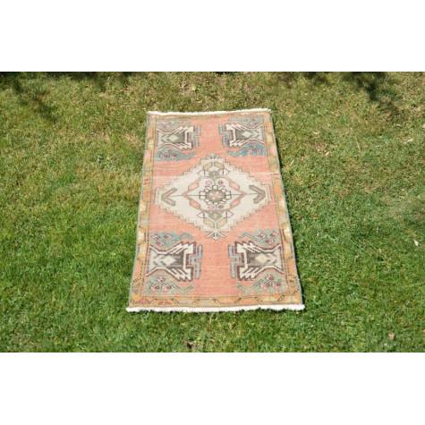 "Turkish Handmade Vintage Small Area Rug Doormat For Home Decor 3'3,4"" X 1'5,7"""