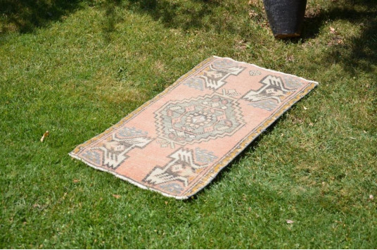 "Vintage Handmade Turkish Small Area Rug Doormat For Home Decor 2'11,8"" X 1'7,3"""