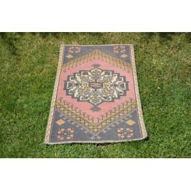 "Unique Turkish Vintage Small Area Rug Doormat For Home Decor 3'0,6"" X 1'8,5"""