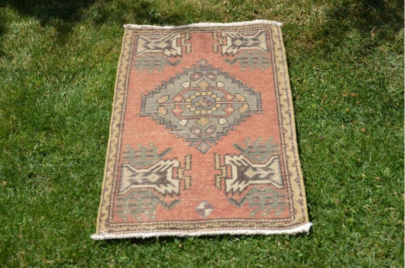 """Natural Turkish Vintage Small Area Rug Doormat For Home Decor 2'11,8"""" X 1'6,1"""""""