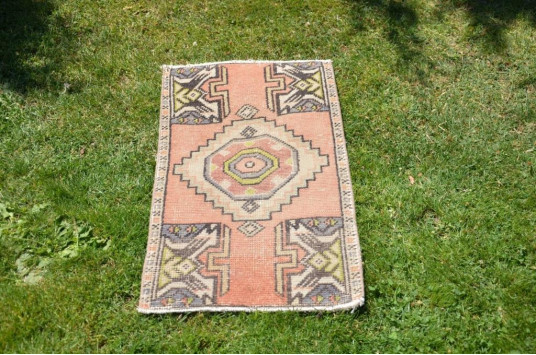 """Natural Turkish Vintage Small Area Rug Doormat For Home Decor 2'11,8"""" X 1'7,3"""""""