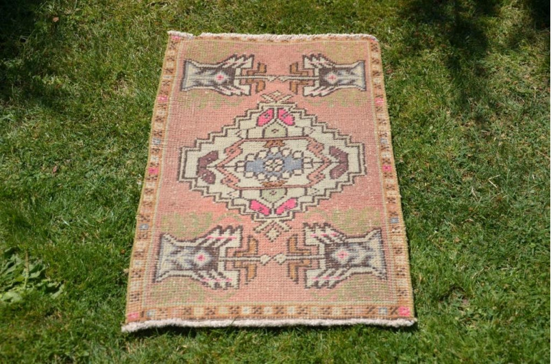 """Natural Turkish Vintage Small Area Rug Doormat For Home Decor 2'11,8"""" X 1'7,7"""""""