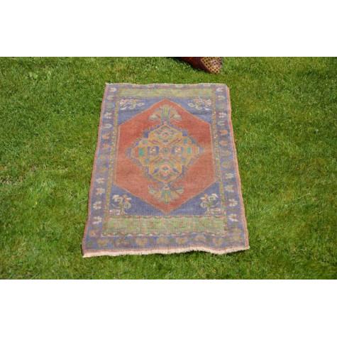"Unique Turkish Vintage Small Area Rug Doormat For Home Decor 3'4,2"" X 1'9,3"""