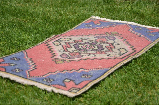 "Unique Turkish Vintage Small Area Rug Doormat For Home Decor 2'9,1"" X 1'6,1"""