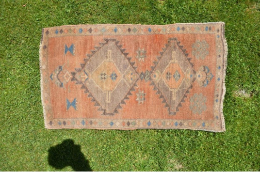 """Natural Turkish Vintage Small Area Rug Doormat For Home Decor 2'11,4"""" X 1'7,7"""""""