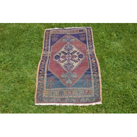 """Natural Turkish Vintage Small Area Rug Doormat For Home Decor 3'7,3"""" X 1'8,1"""""""