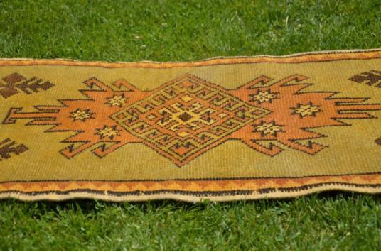"Unique Turkish Vintage Small Area Rug Doormat For Home Decor 3'5,3"" X 1'9,3"""