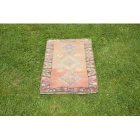 """Natural Turkish Vintage Small Area Rug Doormat For Home Decor 2'5,9"""" X 1'4,5"""""""