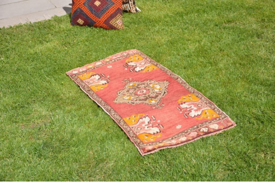 """Natural Turkish Vintage Small Area Rug Doormat For Home Decor 3'2,2"""" X 1'7,3"""""""