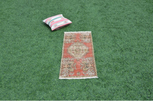 """Natural Turkish Vintage Small Area Rug Doormat For Home Decor 3'1"""" X 1'5,7"""""""
