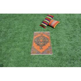 "Unique Turkish Vintage Small Area Rug Doormat For Home Decor 3'0,2"" X 1'8,5"""