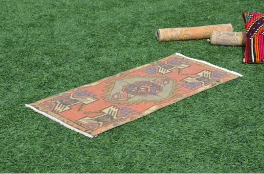 "Turkish Handmade Vintage Small Area Rug Doormat For Home Decor 3'2,2"" X 1'5,3"""