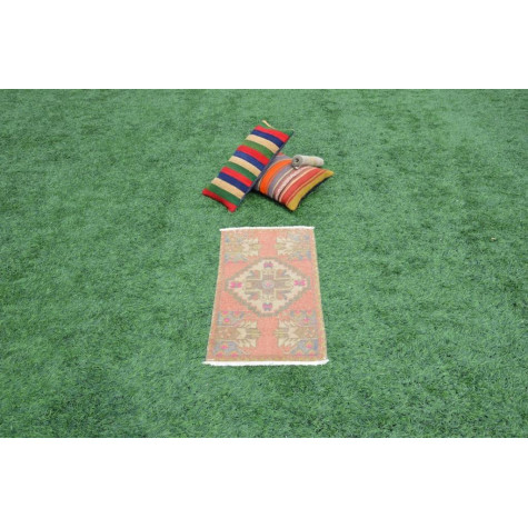 """Natural Turkish Vintage Small Area Rug Doormat For Home Decor 2'11"""" X 1'6,1"""""""